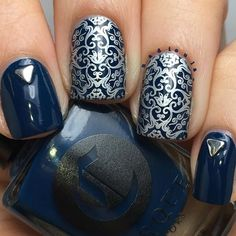 Blue and silver nails                                                                                                                                                                                 More