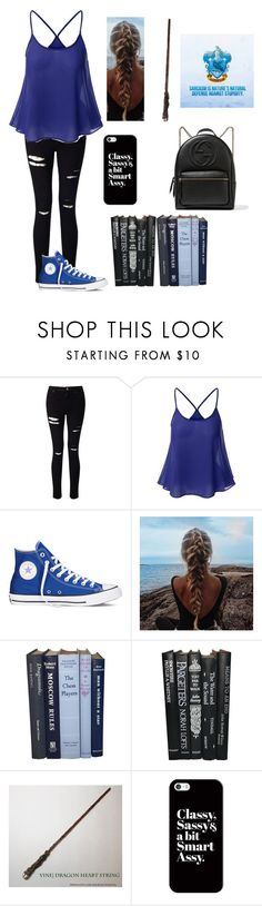 """""""Ravenclaw"""" by an-internet-girl ❤ liked on Polyvore featuring Miss Selfridge, Converse, Casetify, Gucci, harrypotter, fandom and ravenclaw"""