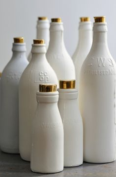 Lustable: Porcelain and Gold Milk Bottles.  VanessaLarson.com