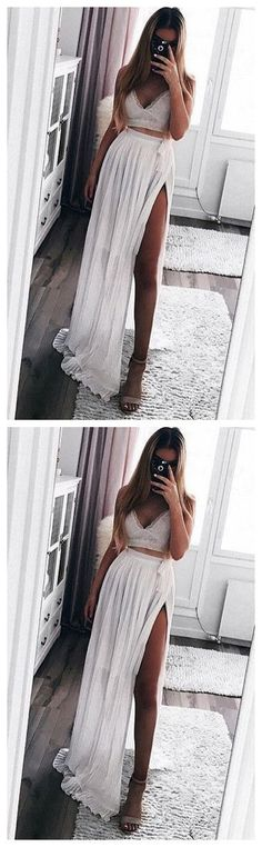 white two piece chiffon lace prom dress by olesaweddingdresses, $129.88 USD Lace Evening Dresses, Prom Dresses, White Two Piece, Chiffon Maxi, Two Piece Dress, Simple Outfits, Dress Making, Simple Clothing, Evening Party
