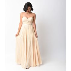 Champagne Chiffon Strapless Sweetheart Corset Long Gown ($88) ❤ liked on Polyvore featuring dresses, gowns, nude, long pleated maxi skirt, long evening dresses, long skirts, long gowns and long chiffon dress
