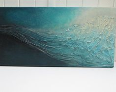 """Abstract painting, mixed media, silk fabric and acrylic painting on canvas, textured, draped, wrinkled, wave, ocean, turquoise, 12"""" x 24"""""""