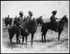 Indian cavalry, Western Front, during World War I. This is one of a number of photographs showing the Indian cavalry who fought with the Allies. In the autumn of 1914, the urgent need for trained soldiers led to the enlistment of both infantry and cavalry from the Indian Army. The motives of the men concerned appear to have ranged between a need for money and an Imperial ideal of loyalty to the king.  This particular photograph must have been taken prior to March 1918, when the two Indian…