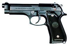 Baretta M9: Semi-automatic pistol made in Italy and the United States by Fabbrica d'Armi Pietro Beretta. 15 round detachable box magazine.