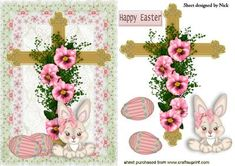 EASTER CROSS IN PINK FLORAL FRAME WITH BUNNY on Craftsuprint - Add To Basket!