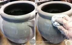 Bloempotten verven met krijtverf Home Crafts, Diy And Crafts, Cement Table, Container Design, Aging Wood, Cake Tutorial, Annie Sloan, Diy Painting, Twine