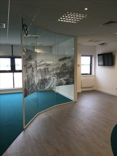 Here we installed straight full height glass set out on an angle to create a curved wall. Office Interior Design, Interior Design Services, Office Interiors, Glass Partition, Curved Glass, Wall Design, Kitty, Create, Crochet