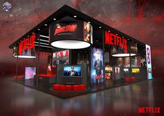 Netflix What on Behance Netflix, Tienda Pop-up, Exhibition Stall Design, Exhibition Stands, Shipping Container Conversions, Coffee Shop Bar, Trade Show Booth Design, Retail Design, Event Design