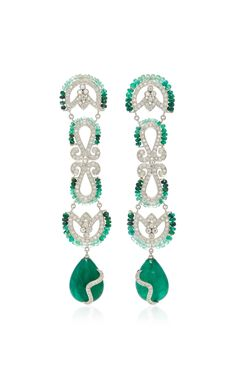 AMRAPALI ONE-OF-A-KIND DIAMOND AND EMERALD DROP EARRINGS. #amrapali #