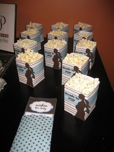 Simple Bliss: boy baby shower ideas  omg, white cheddar cheese popcorn!!