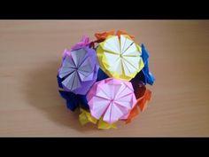 折り紙のくす玉 sユニット 折り方 Origami Kusudama ball - YouTube