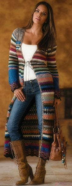Striped Crochet Duster ~ Full length sweater coat with jeans and boots | Newport News Clothing