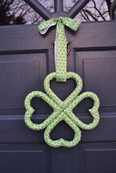 Shamrock Wreath for St. Patrick's Day... Mini Heart styrofoams, and ribbon... So Easy
