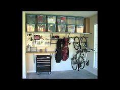 Garage organize for the small garages. Work bench seasonal storage and racks for bikes gardening tools etc