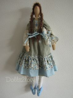 Tilda doll Rosalyn wearing a liberty and gingham by Dolls2love