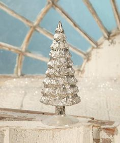 Antiqued Silver Mercury Glass Trees at TheHolidayBarn.com