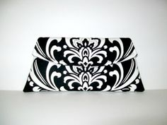 Black and White Damask  Classic Angled Clutch by MSGFabriCreations