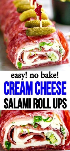 Refreshing, meaty, and filled with cream cheese salami roll ups. appetizers cream cheese Salami Cream Cheese Roll Ups Finger Food Appetizers, Yummy Appetizers, Appetizer Recipes, Cream Cheese Appetizers, Picnic Finger Foods, Salami Appetizer, Salami Recipes, Appetizer Sandwiches, Keto Snacks