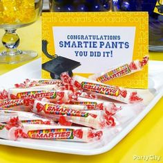 Smarty pants! A simple little sign turns Smarties into clever graduation party treats. :)