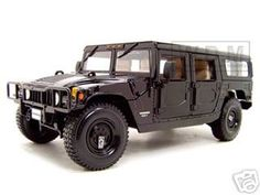 Click Image Above To Buy: Hummer H1 Wagon Diecast Model Black 1/18 Die Cast Car By Maisto