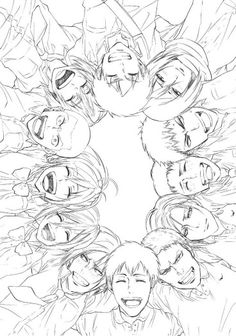 Attack on Titan characters, laughing, smiling; Attack on Titan