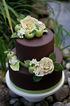 Chocolate Brown With Fall Foliage Chocolate fondant (so easy to work with!) with gumpaste roses, hydrangea, leaves, and jasmine. Plus...