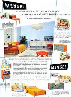 Raymond Lowey MENGEL ACCENT Mid-Century Modern 1953 Print
