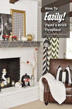 How to Paint a Brick Fireplace {Tutorial} Like this mantel in white