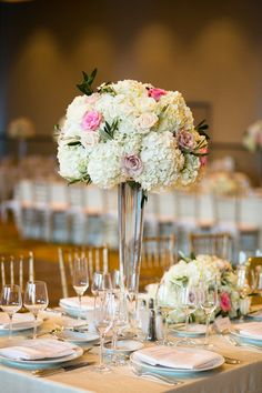 Tall centerpieces at an upscale Boston wedding reception {Mark Davidson Photographer}