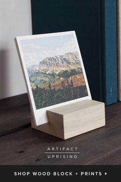 Our wood blocks display your photo prints beautifully. Artifact Uprising uses reclaimed Colorado wood to showcase your uploaded photo prints.