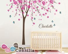 Baby Nursery Tree Wall Decal Large Cherry Blossom by WallConsilia