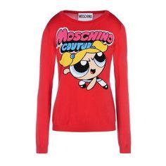 Moschino Powerpuff Girl Womens Knitted Long Sleeve Sweater Red