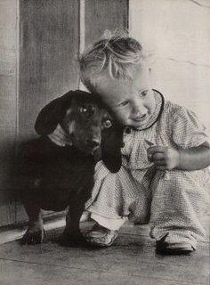 Antique photo - Dachshund and child