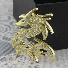 Fire Dragon Logo Diamond Golden Color Metal Car Auto Badge Emblem Sticker Decal #UnbrandedGeneric
