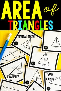 EASY area of a triangle ideas to keep students math skills sharp! Perfect for grade, grade, grade Math Tutor, Teaching Math, Teaching Ideas, Math Resources, Math Activities, Math Games, Math Lessons, Math Skills, Sixth Grade Math