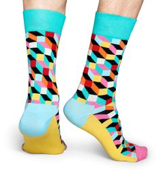 Add a splash of eye-popping color to any outfit by pulling on a pair of filled optic socks. Vibrantly designed, these socks feature blue, teal, pink, yellow, black, white, red and orange squares and rectangles to create a memorable geometric pattern. Because they're super comfy and warm, these combed cotton socks will soon become your favorite! Available in sizes for women and men. Orange Square, Unique Socks, Clear Spring, Crazy Socks, Colorful Socks, Happy Socks, Cotton Socks, Mint Green, Yellow Black