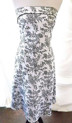 Floral Bustier Strapless Fit & Flare Dress Luly K New York City Black White L  #LulyKNewYorkCity #Corset #Cocktail