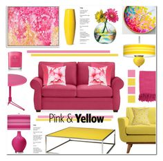 """""""Pink & Yellow Living Room"""" by anyasdesigns ❤ liked on Polyvore featuring interior, interiors, interior design, home, home decor, interior decorating, Kitras Art Glass, Fermob, Coalesse and Pottery Barn"""