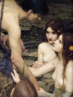 Hylas and the Nymphs, 1896, John William Waterhouse. In Greek mythology, Hylas was the son of King Theiodamas of the Dryopians. Roman sources such as Ovid state that Hylas' father was Hercules and his mother was the nymph Melite, or that his mother was the wife of Theiodamas, whose adulterous affair with Heracles caused the war between him and her husband. He gained his beauty from his divine mother and his military prowess from his demigod father. He was captured by water nymphs.