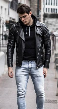Leather Jeans Men, Leather Jacket Outfits, Leather Jackets, Sexy Men, Sexy Guys, Hot Guys, How To Look Better, Menswear, Street Style