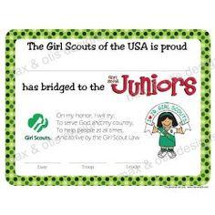 Girl Scout Juniors Bridging Certificate