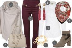 Fashion - Herbstoutfit in rot und beige