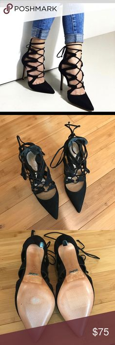 Schutz black lace up leather suede stiletto. 8.5 Your boyfriend loves ❤️ these. Sexy lace up stilleto by Schutz. Leather soles. Made in Brazil. Reposh. SCHUTZ Shoes Heels