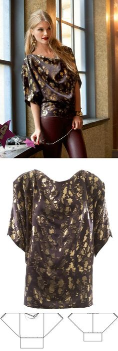 Batwing Top. Women's top sewing pattern available for download. Available in various sizes and is produced by burda style magazine.