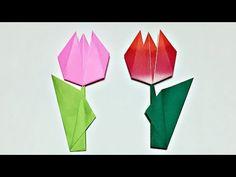 【折り紙】チューリップ 平面の簡単な折り方【音声解説あり】Origami Flower Tulip - YouTube