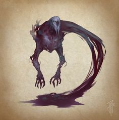A Living Shadow, one of the most common forms of Undead. Shadow Monster, Monster Art, Monster Concept Art, Fantasy Monster, Creature Concept Art, Creature Design, Fantasy Creatures, Mythical Creatures, Shadow Creatures
