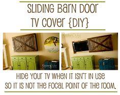 Sliding Barn Door TV Cover Tutorial - great DIY project for your family or living room | KristenDuke.com decor