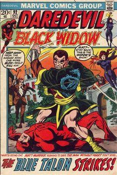 I give Daredevil a mulligan in this category because of his connections with the Black Widow (pictured) and the Black Panther (also pictured - LGT source of cover art; click on issue number link to go to file entry for summery).