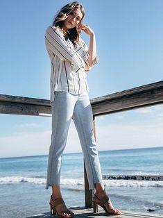 89309498c5d Liverpool Jayden Crop Straight Jean. Hi Lo Hem jeans in white for Spring.