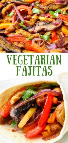 These easy vegetarian fajitas will help you to get a healthy dinner on the table in less than 20 minutes the whole family will love! Portabello mushrooms, bell pepper, onions, and vegan chicken strips make these fajitas packed with flavor, healthy veggies, and protein for a complete meal. #thehiddenveggies Vegan Fajitas, Vegetarian Fajitas, Vegetarian Sandwich Recipes, Vegetarian Recipes Dinner, Vegan Dinners, Vegan Recipes Easy, Beef Recipes, Vegetarian Mexican, Mexican Recipes